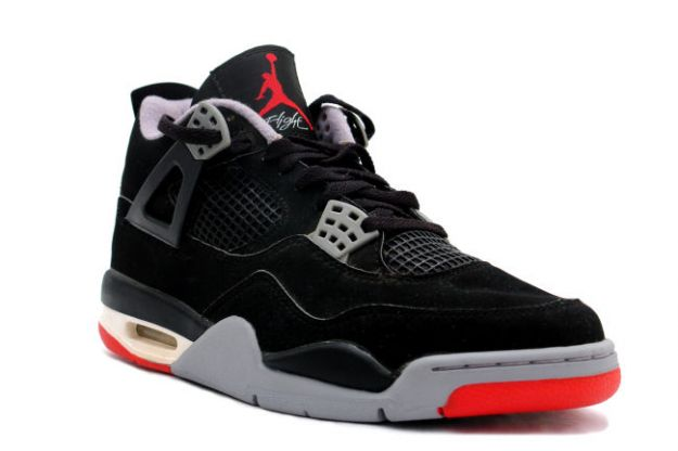 1999 nike jordan 4 retro black cement grey red shoes