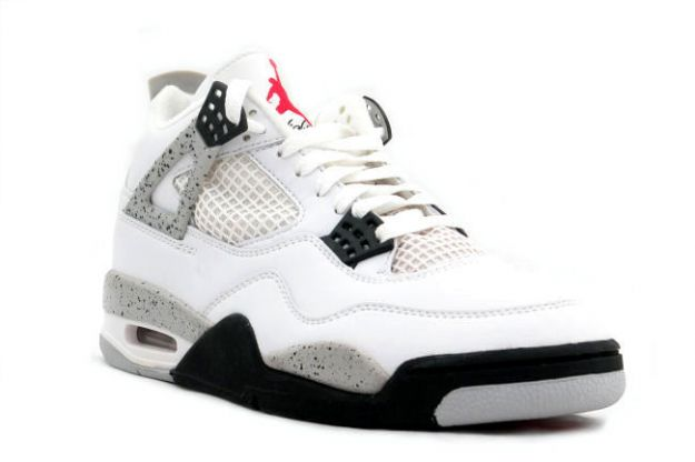 1999 nike jordan 4 retro white black cement grey red jumpman shoes