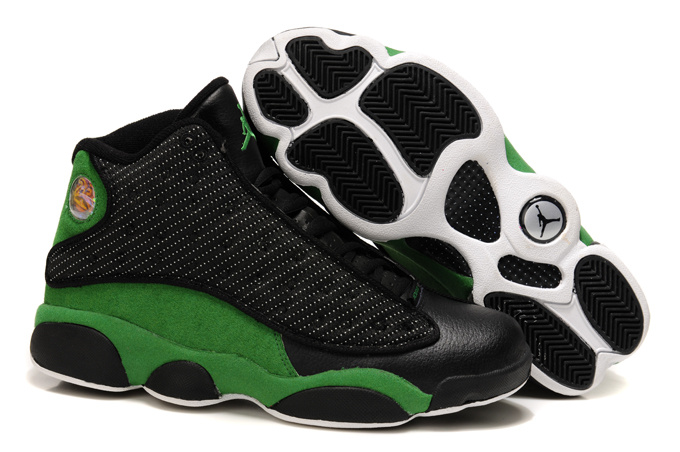 2013 Cool Air Jordan Retro 13 Black Green Shoes