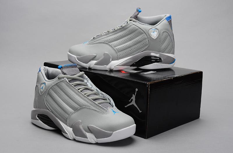 dce90e174e40 2014 Grey White Blue Jordan 14 Retro Basketball Shoes  NKOBE2016 ...