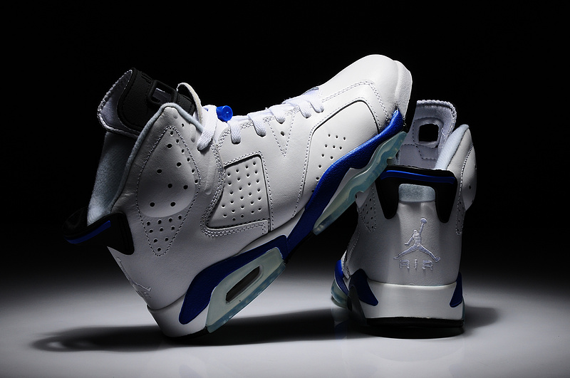 New Nike Jordan 6 Retro Shoes White Blue Shoes