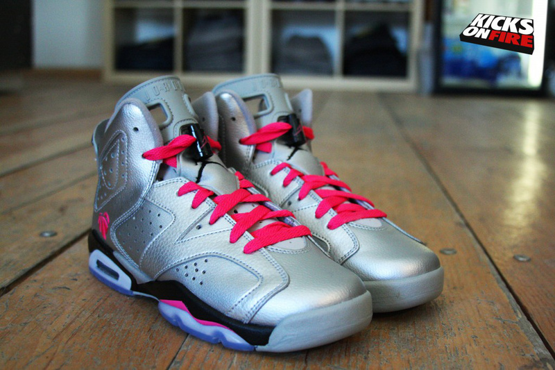 2014 New Air Jordan 6 Valentine Silver Black Red Shoes