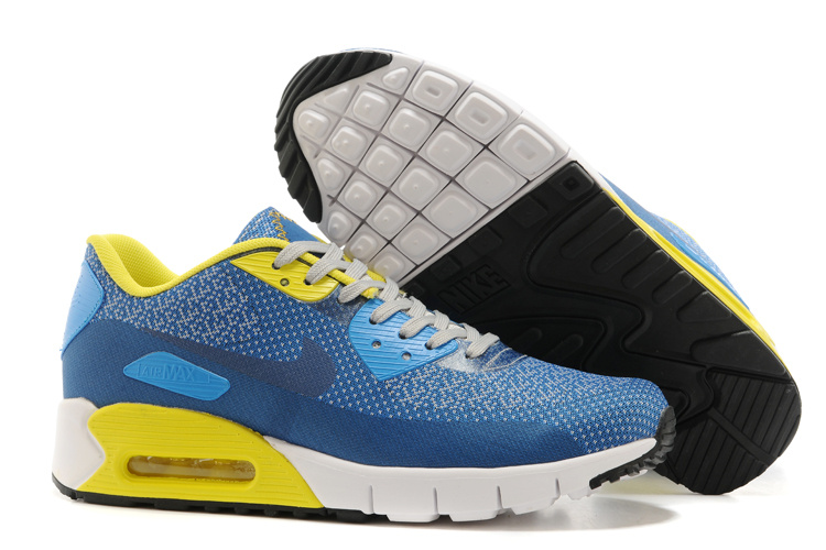 Nike Air Max 90 Blue Yellow White Running Shoes
