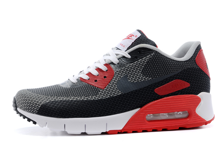 Nike Air Max 90 Grey Black White Red Running Shoes