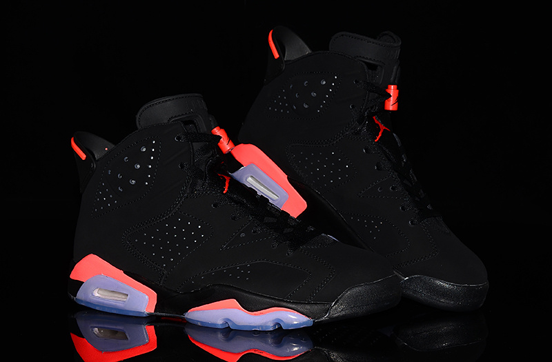 2014 New Nike Jordan 6 Infrared Ray Black Red Shoes