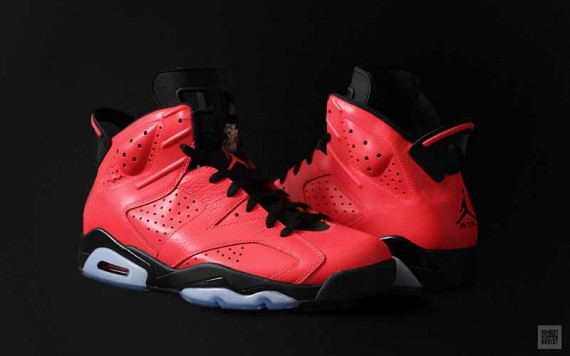 2014 Retro Jordan 6 Toro Red Black Shoes