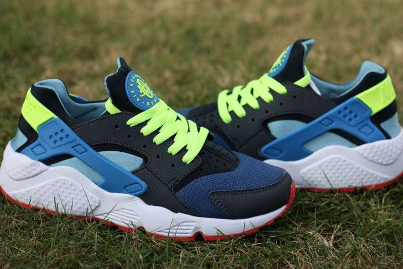2015 Hot Nike Air Huarache Deep Blue Fluorscent Green Womens Shoes