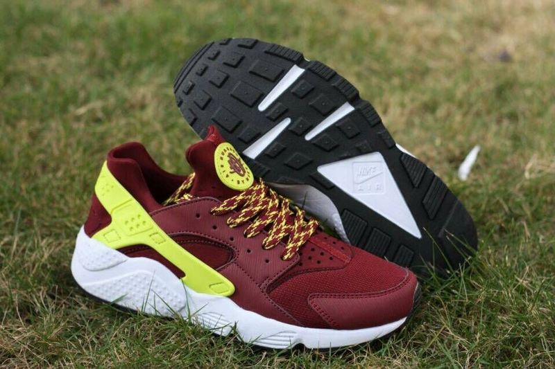 2015 Hot Nike Air Huarache Wine Red Yellow Mens Shoes