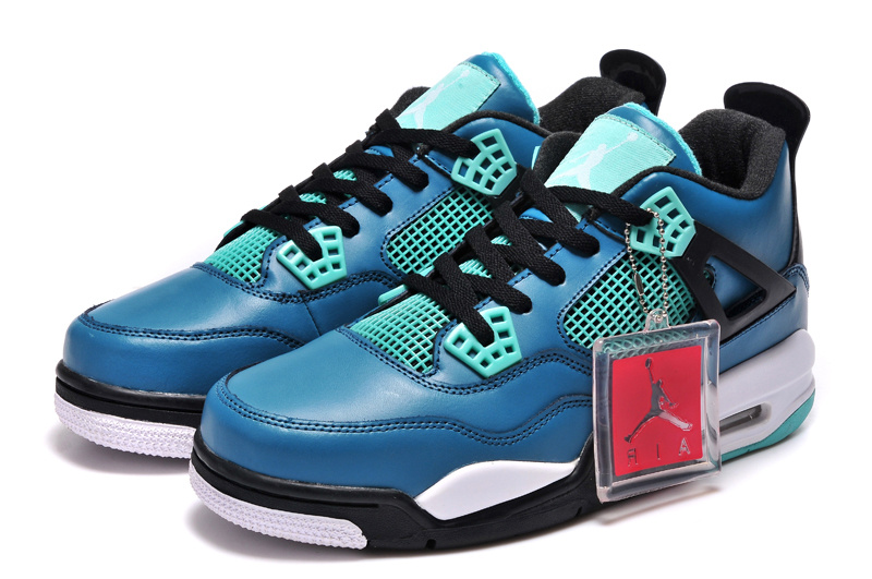 Nike Jordan 4 Retro Basketball Shoes Black Jade Blue