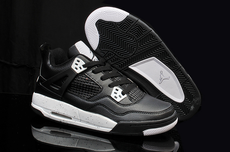 Nike Jordan 4 Retro Shoes Black White For Women