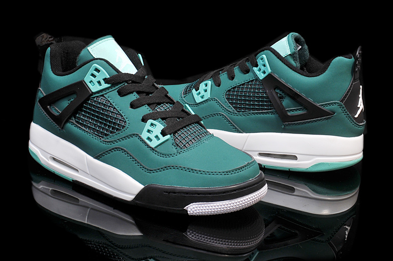 Nike Jordan 4 Retro Shoes Green Black White For Women