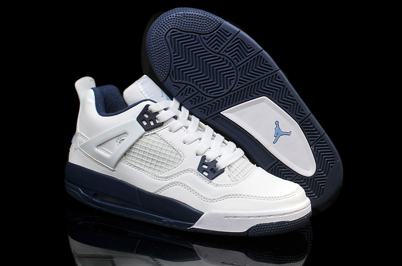Nike Jordan 4 Retro Shoes White Blue For Women