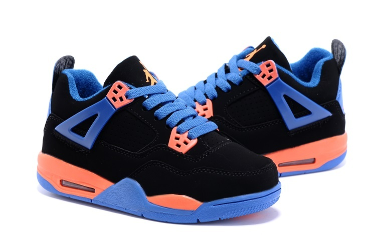 2015 Nike Kids Air Jordan 4 Retro Black Blue Orange Shoes