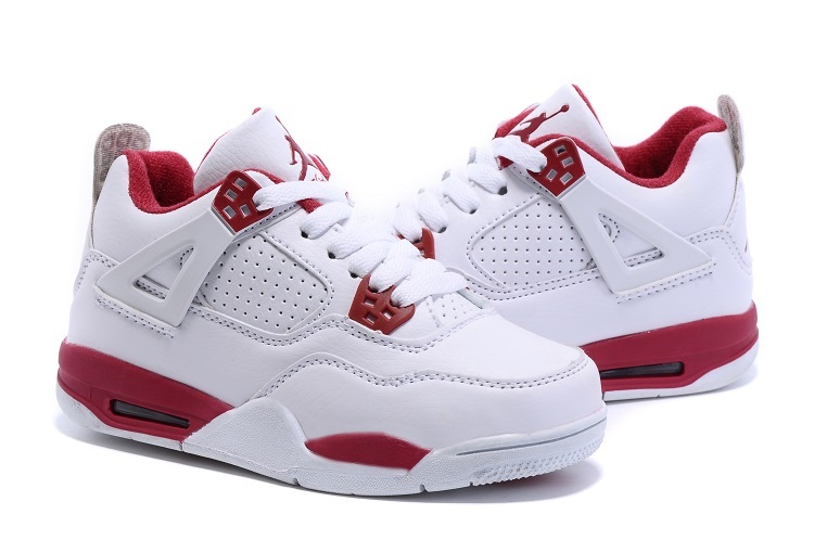 2015 Nike Kids Air Jordan 4 Retro White Red Shoes