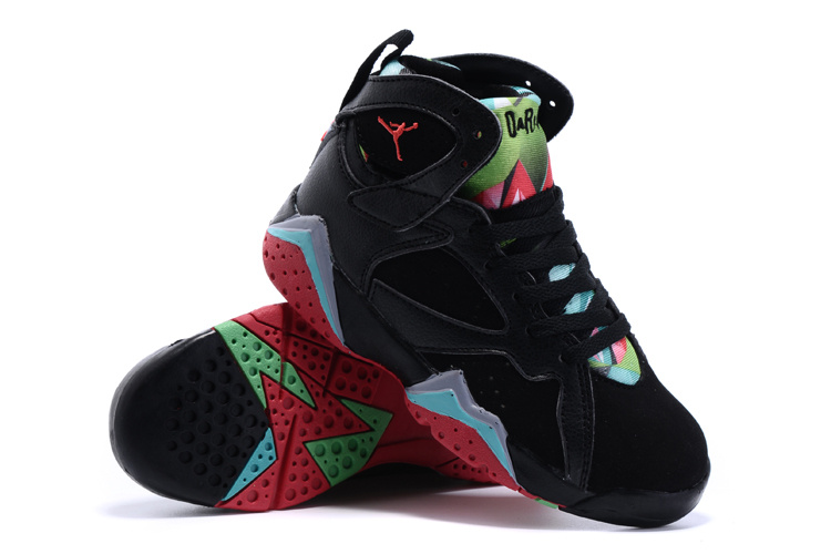 2015 Nike Kids Air Jordan 7 Retro Black Green Red Shoes