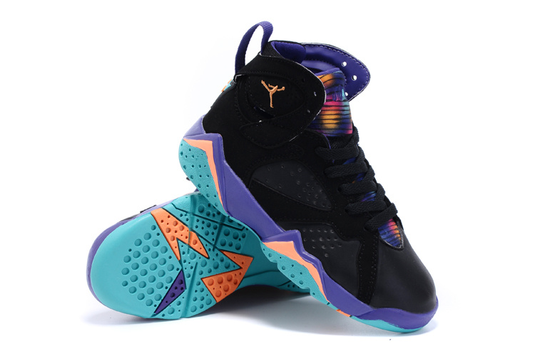 2015 Nike Kids Air Jordan 7 Retro Black Purple Orange Shoes