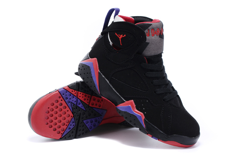 2015 Nike Kids Air Jordan 7 Retro Black Purple Red Shoes