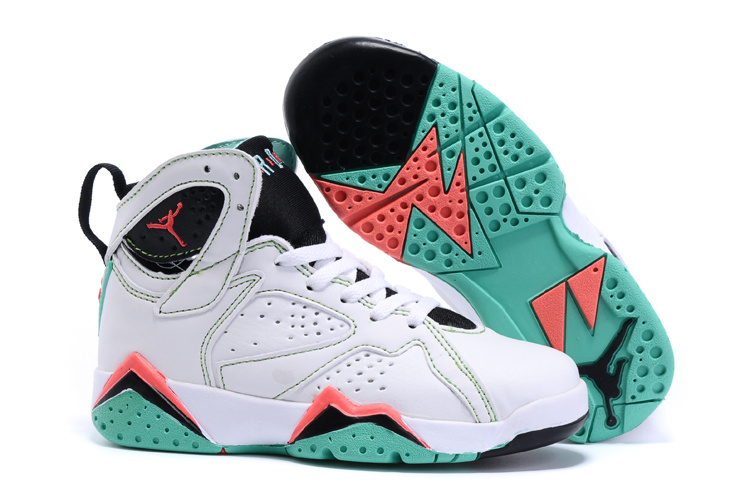 2015 Nike Kids Air Jordan 7 Retro White Black Red Green Shoes
