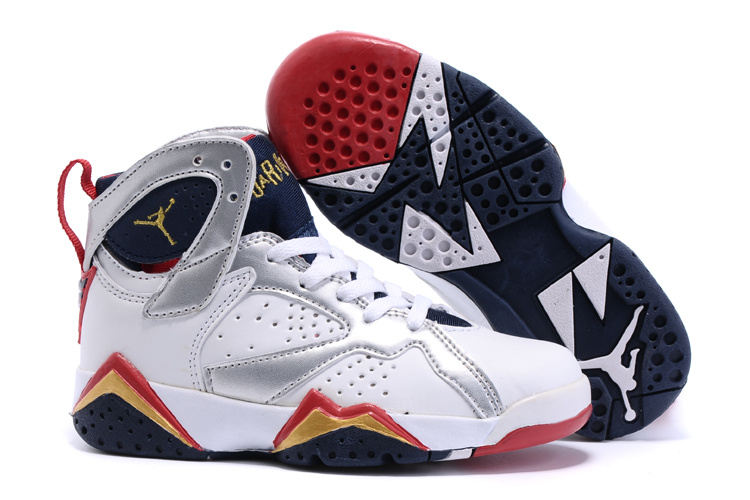 2015 Nike Kids Air Jordan 7 Retro White Silver Red Black Shoes
