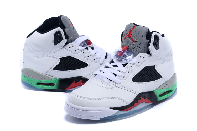New Nike Air Jordan 5 Retro White Black Red Green Shoes - Click Image to Close