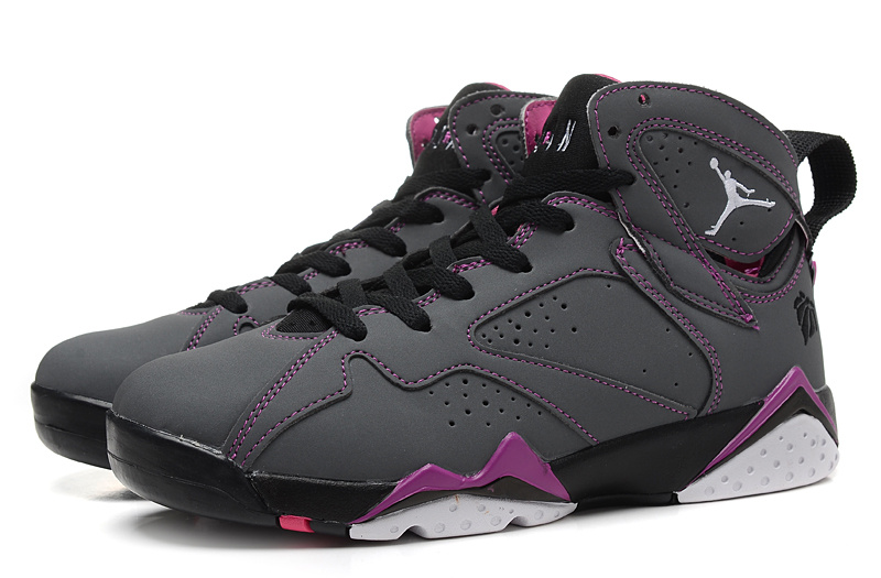 New 2015 Nike Air Jordan 7 Retro Grey Black Purple Women Shoes