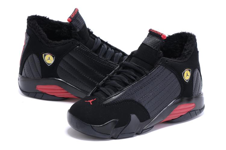fe673ff92670cc 2015 Women Nike Air Jordan 14 Retro Wool Black Red Shoes