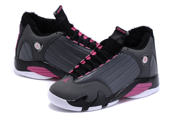 cf079dc76e103f 2015 Women Nike Air Jordan 14 Retro Wool Grey Black Pink Shoes