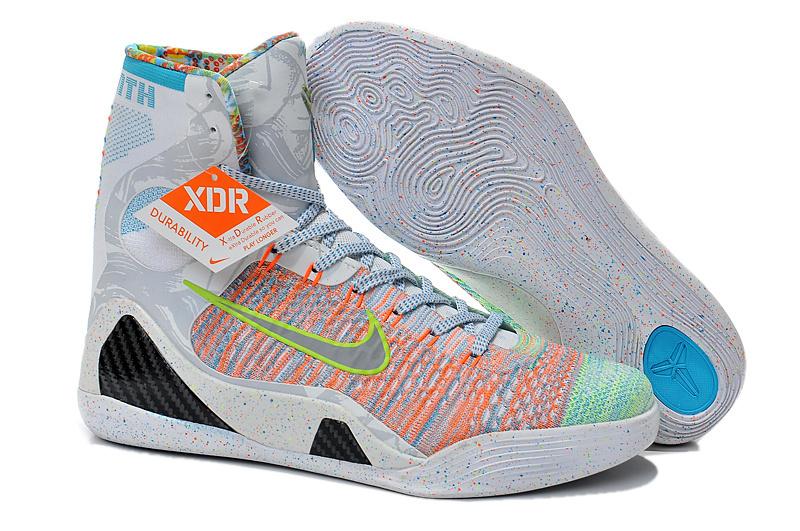 627884b0d0d4 2015 Nike Kobe Bryant 9 High Rainbow Grey Shoes