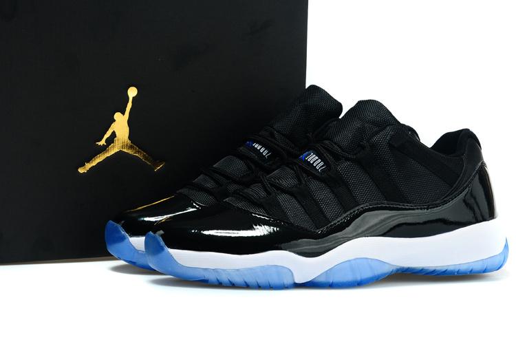 New Nike Air Jordan 11 Low Black White Blue Shoes Nkobe1814