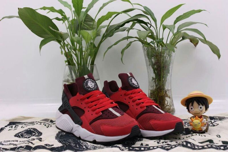 2015 Popular Nike Air Huarache Shine Red Wine Red Black Mens Shoes