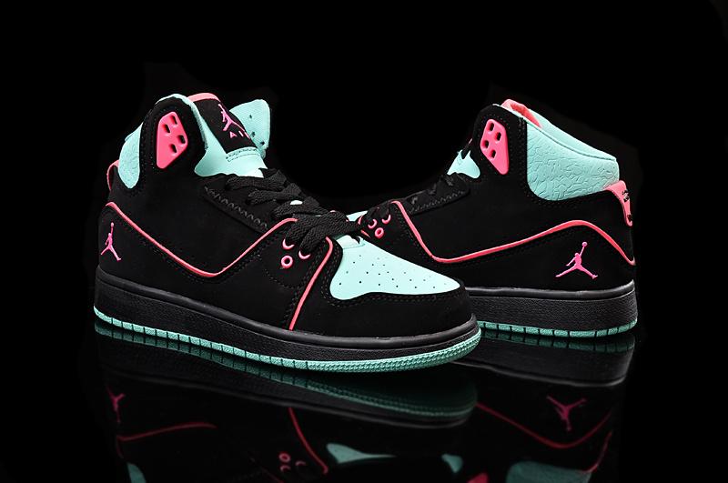 7b4f0a310b3 2015 Nike Women Air Jordan 1 Flight 2 Black Green Pink Shoes