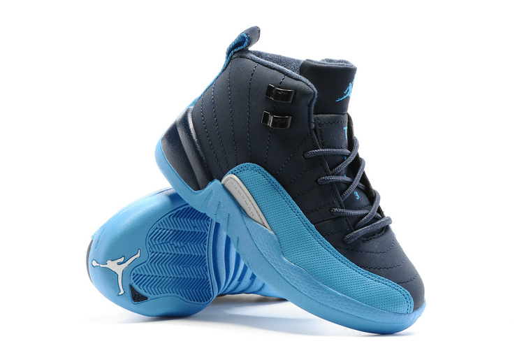 2016 Kids Air Jordan 12 Black Blue