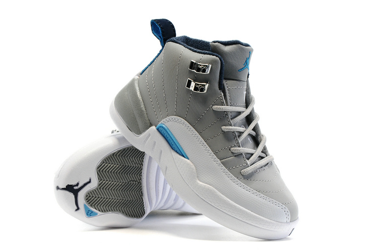 2016 Kids Air Jordan 12 Grey White Blue