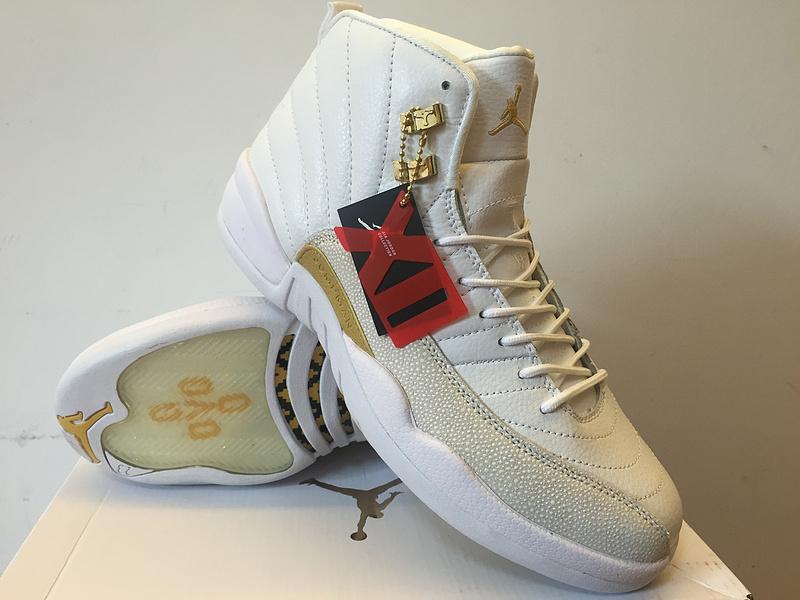 4bf9c01ae1bd4a 2016 Women Air Jordan 12 OVO White Gold Shoes