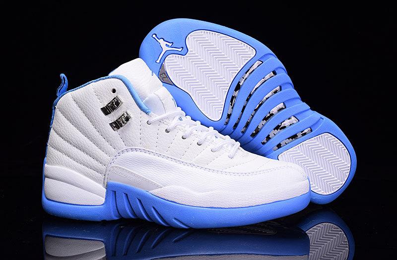 2016 Women Air Jordan 12 White Baby Blue Shoes a37dee71e