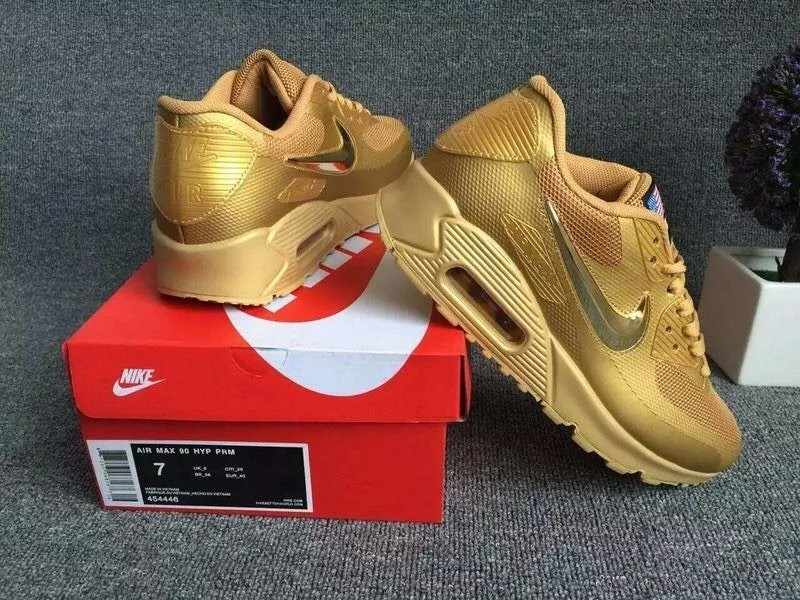 New Nike Air Max 90 Electroplating Swoosh All Gold