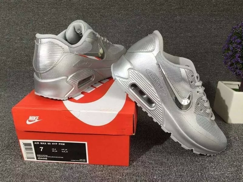 New Nike Air Max 90 Electroplating Swoosh All Grey