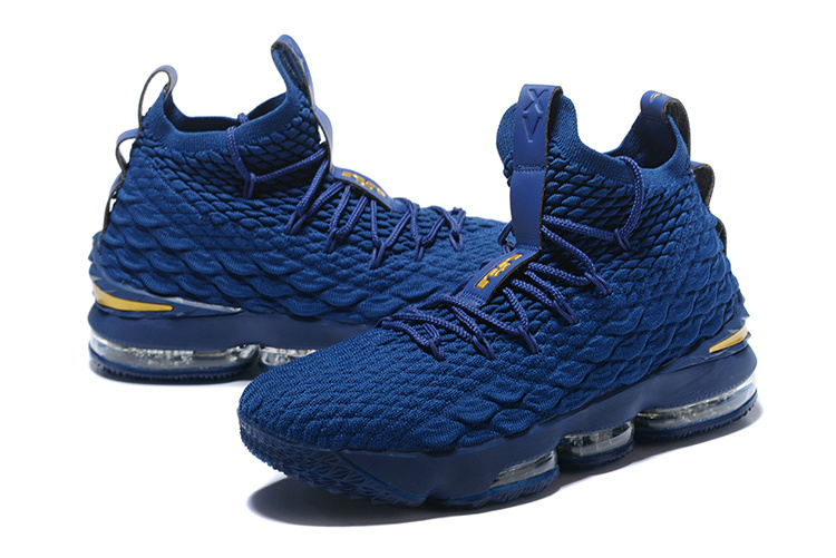 2017 Men Nike Lebron XV Blue Gold Shoes