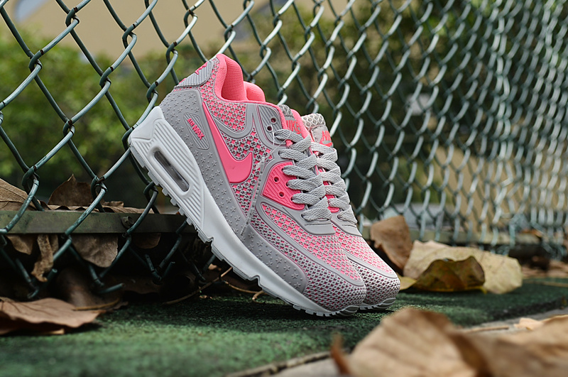 2017 Women Nike Air Max 90 Grey Pink Shoes