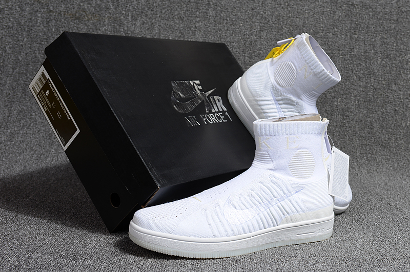2018 Men Nike Air Force 1 Zip Mid All White Shoes