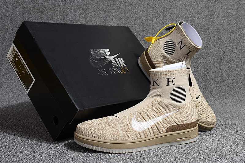 2018 Men Nike Air Force 1 Zip Mid Beign Brown Shoes