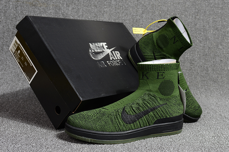 2018 Men Nike Air Force 1 Zip Mid Grass Green Black Shoes