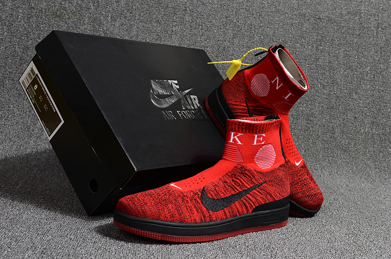 2018 Men Nike Air Force 1 Zip Mid Red Black Shoes
