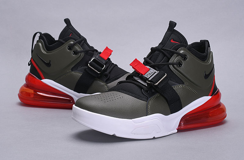 2018 Men Nike Air Force 270 Mid Green Black Red White