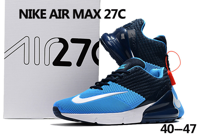2018 Men Nike Air Max 27C Blue White Shoes c5139c4a5