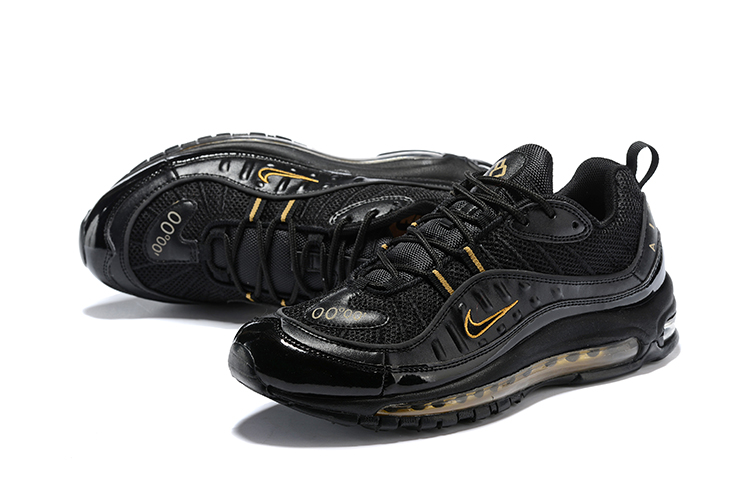 the latest ee05d dc5ae 2018 Men Nike Air Max 98 Black Gold Shoes [18kobe61815] - $75.00 ...