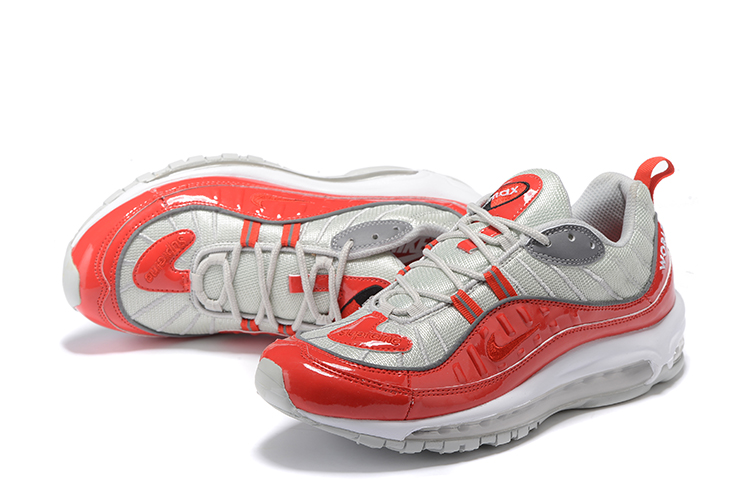 2018 Men Nike Air Max 98 Silver Red Shoes
