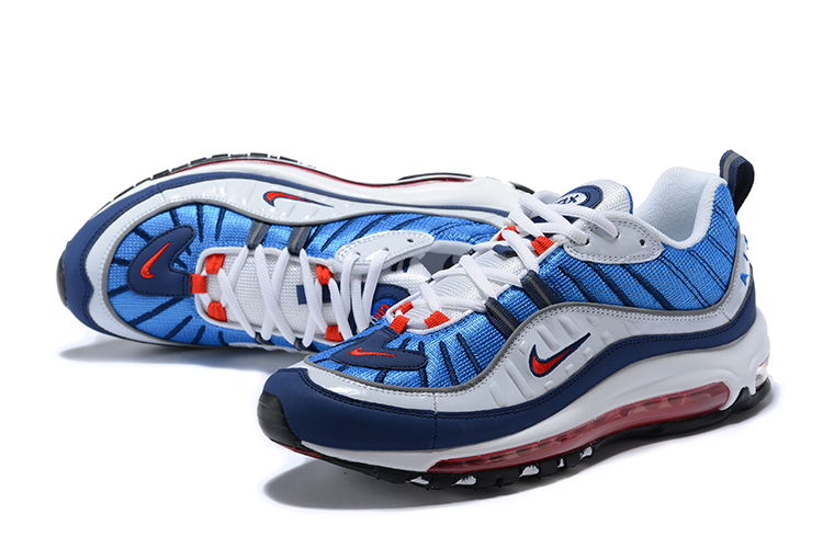 2018 Men Nike Air Max 98 White Blue Red Shoes