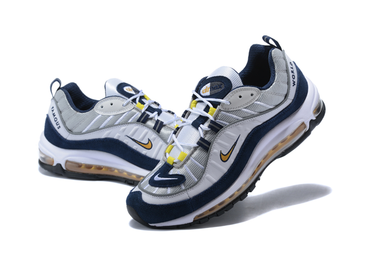 2018 Men Nike Air Max 98 20th Anniversary Grey Blue Yellow Shoes