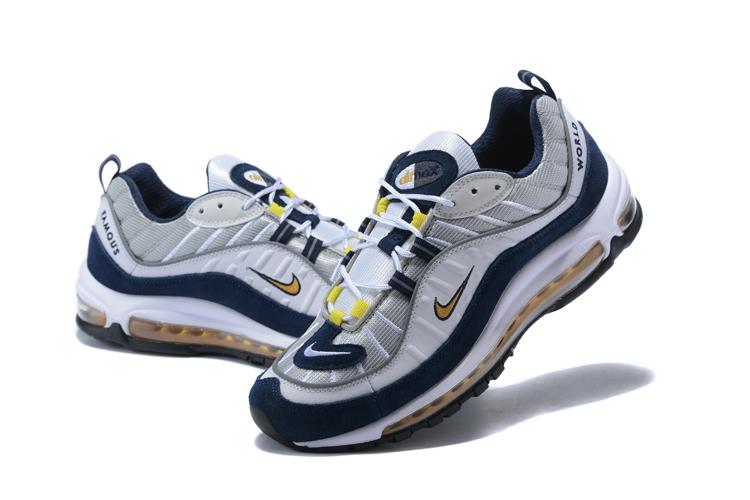 1bcf09a3a7 2018 Men Nike Air Max 98 20th Anniversary Grey Blue Yellow Shoes ...